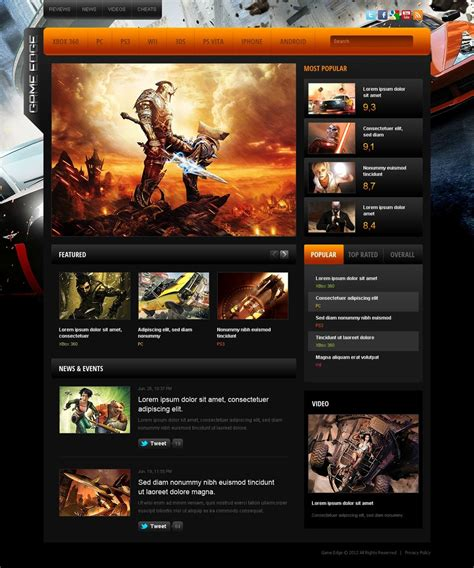 game website layout download free game portal web templates free isoletitbit