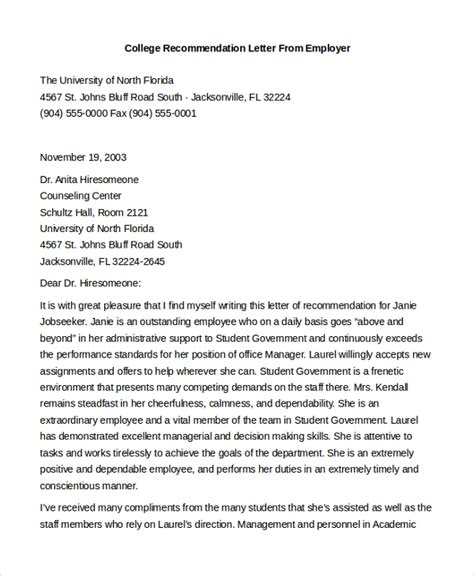 Letter Of Recommendation From Employer For College Admissions Sle Letter Of Recommendation For Employment 8 Free Documents In Doc
