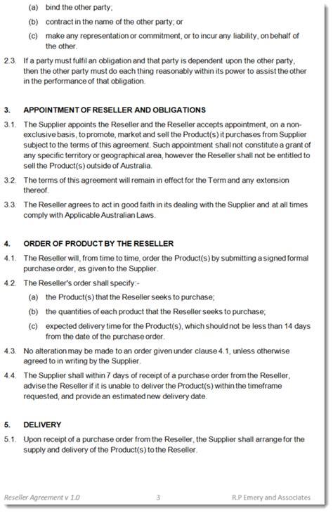 resale agreement template reseller agreement template australia