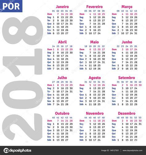 Calend Brasileiro 2018 Portugu 234 S Brasileiro Calendar 2018 Vetores De Stock