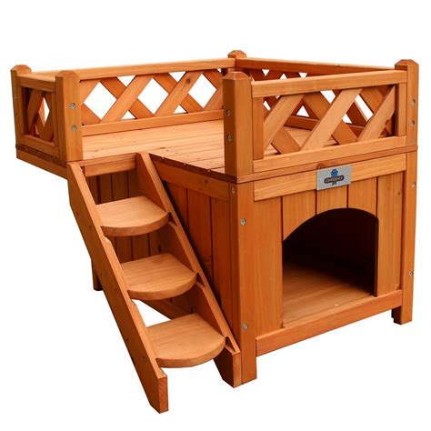 balcony view dog house confidence pet wooden dog house kennel with balcony ebay