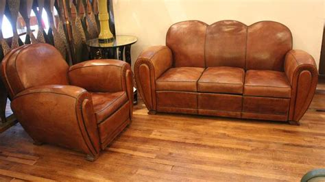French Art Deco Leather Sofa And Club Chair At 1stdibs Deco Leather Sofa