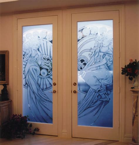 Etched Glass Frosted Glass Interior Doors Custom Custom Etched Glass Doors