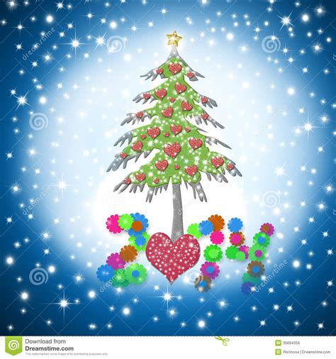 beautiful christmas card   shiny hearts tree stock illustration image