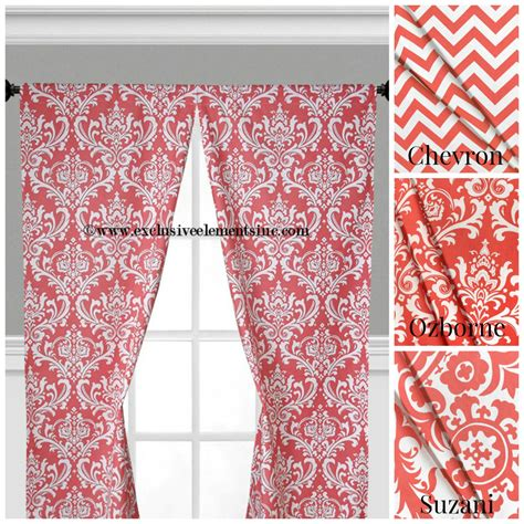Coral Damask Curtains Coral Curtain Panels Modern Chevron Damask Coral Drapery