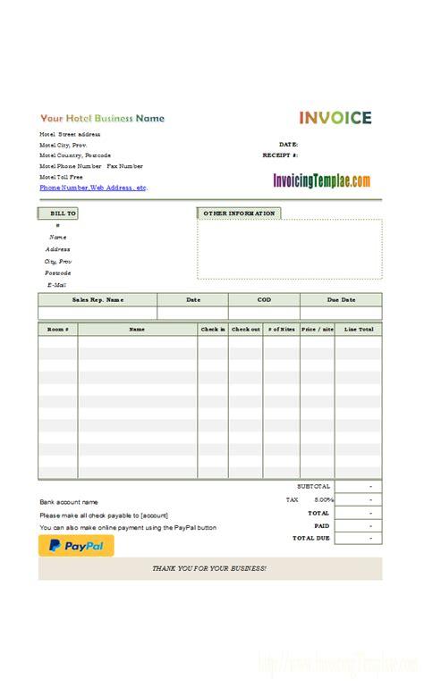 hotel bill layout hotel receipt template