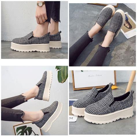 Fashion Dan Aksesoris Sepatu Wanita 6 jual shsf5 black sepatu slip on fashion 6cm grosirimpor