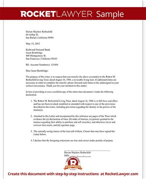 Transfer Asset Letter Trust Letter To Banker Or Broker Letter To Transfer Assets To Trust