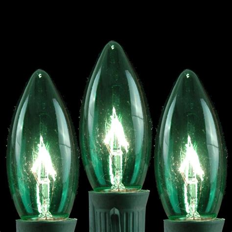 green c9 christmas light set on brown wire novelty