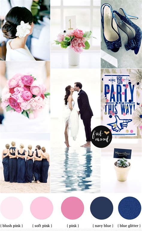 Pink and navy blue for beach wedding,Pink and blue wdding