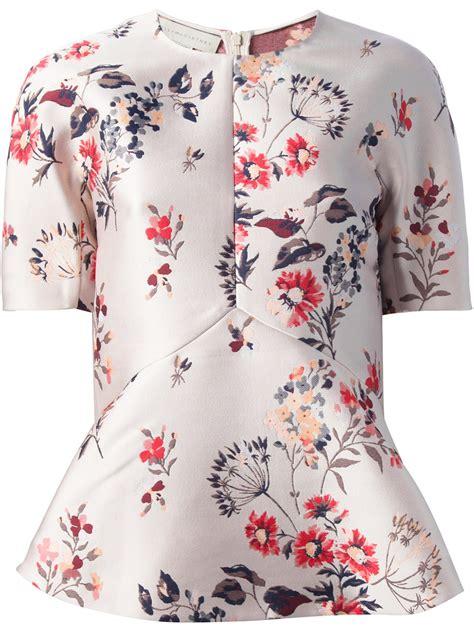 Floral Peplum Blouse Dress Atasan Wanita stella mccartney floral peplum blouse in pink lyst
