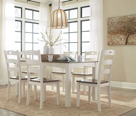 woodanville white and brown 7 piece dining room set d335
