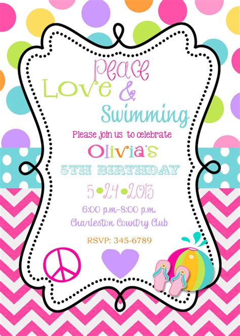 12 peace swimming birthday invitations with