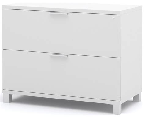 White Lateral Filing Cabinet Pro Linea Assembled Lateral File In White Modern Filing Cabinets By Modern Furniture Warehouse