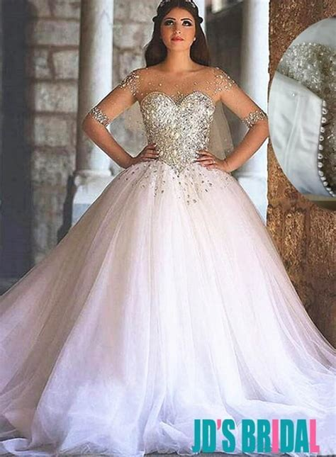 Sparkly Sweetheart Tulle Princess Wedding Dresses #2494235