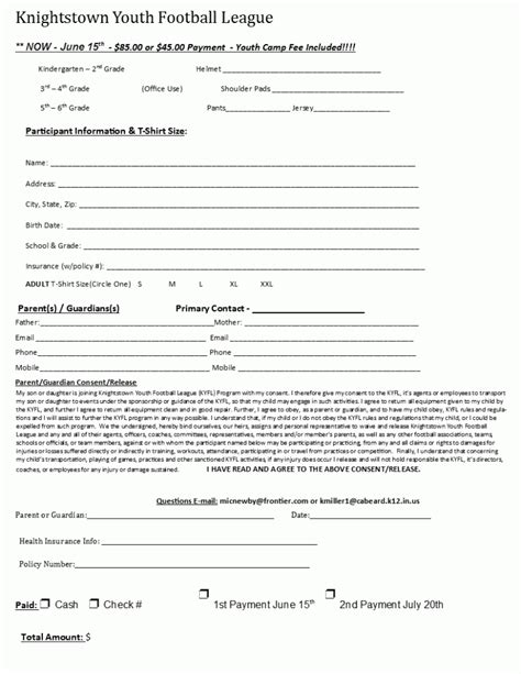 youth registration form template knightstown team home knightstown panthers sports