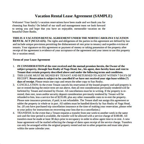 Vacation Rental Agreement Template by 8 Vacation Rental Agreements Free Sle Exle Format