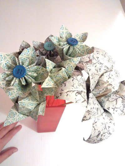 fiori color verde set di fiori di carta origami color verde e azzurro