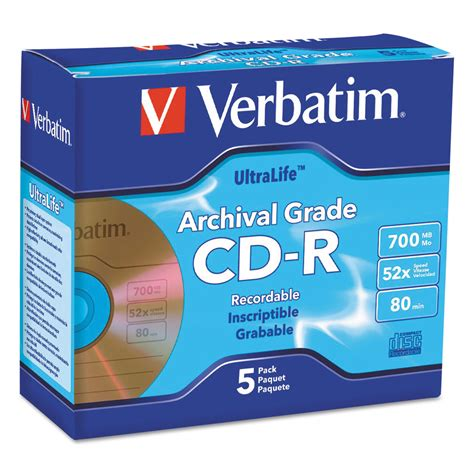 Cd R Viabrand Gold Pack 50 Keping ultralife gold archival grade cd r w branded surface by verbatim 174 ver96319 ontimesupplies