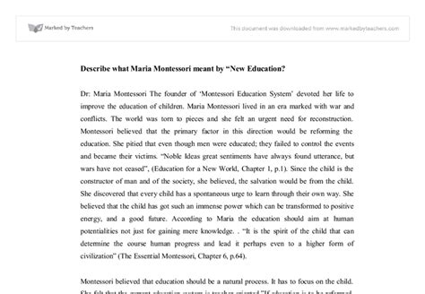 thesis montessori education new education a concept by maria montessori university