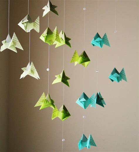 Hanging Origami - origami mobile school of caribbean fish hanging decor