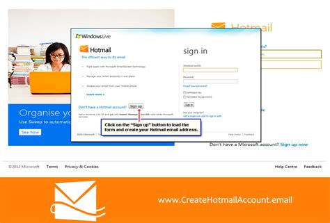 sign up hotmail sign up how sign up create an account create email and social network accounts