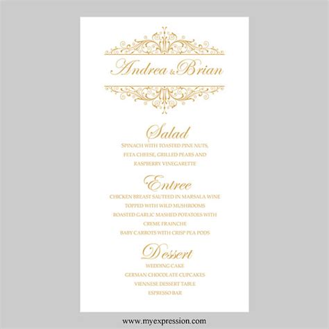 wedding menu card template vintage filigree by