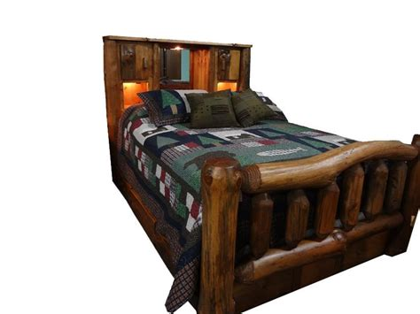 Log Headboard And Footboard by Amish Rustic Pine Log Bed With Bookcase Headboard