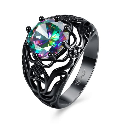 Platgold Black black gold plated zircon cz colorful rings