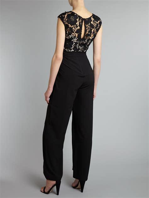 Place Jumpsuit lipsy lace top jumpsuit in black lyst