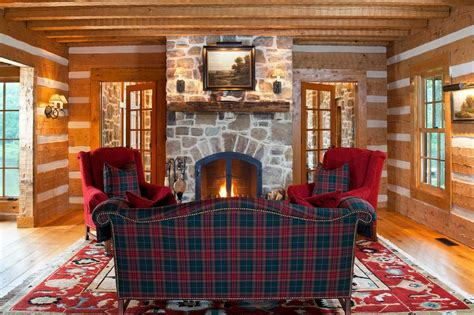 plaid living room furniture burgundy plaid sofa living room rustic with bookcases