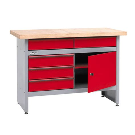 Cupboard And Drawers Clarke Cwb1205p Workbench With 5 Drawers And Lockable Cupboard