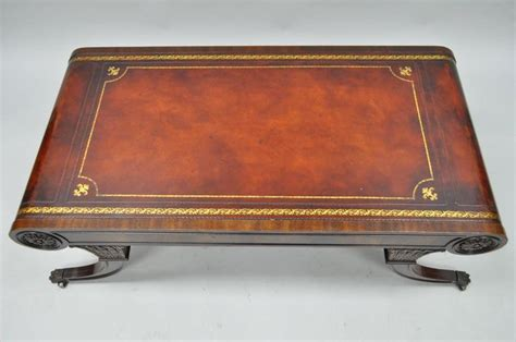 Leather Top Coffee Table Vintage Weiman Regency Tooled Leather Scroll Top Crotch Mahogany Coffee Table At 1stdibs