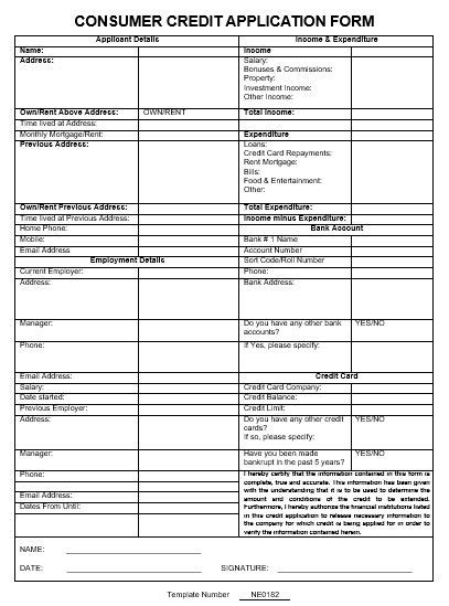 consumer credit application form template ne0182 consumer credit application form template