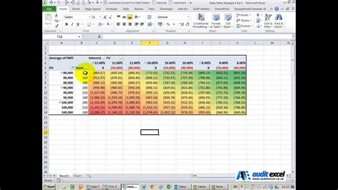 data table excel youtube