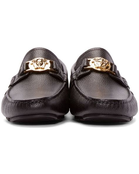 versace loafers for versace black leather medusa loafers in black for lyst