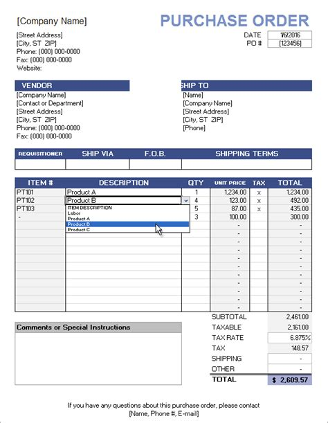 Free Purchase Order Template With Price List Buy Excel Templates