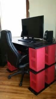 Cinder Block Desk by Scrap Wood And 0 60 Cinder Block Plant Shelves Back