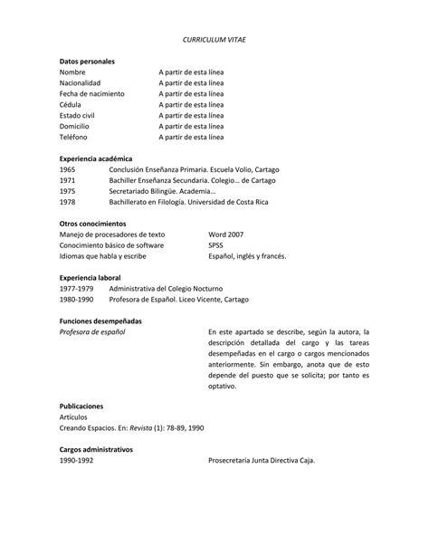 Plantilla De Curriculum Vitae Costa Rica Pienso En Costa Rica El Curr 237 Culum Vitae