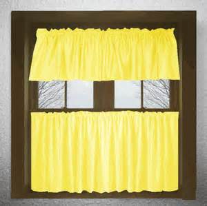solid lemon yellow kitchen cafe tier curtains
