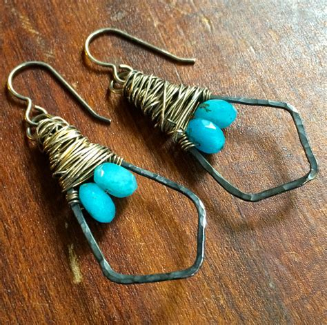 hammered copper wire wrapped jewelry hammered wire wrapped earrings copper sterling silver oxidized