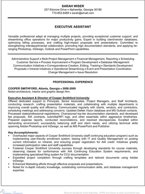 executive administrative assistant resume for excel pdf