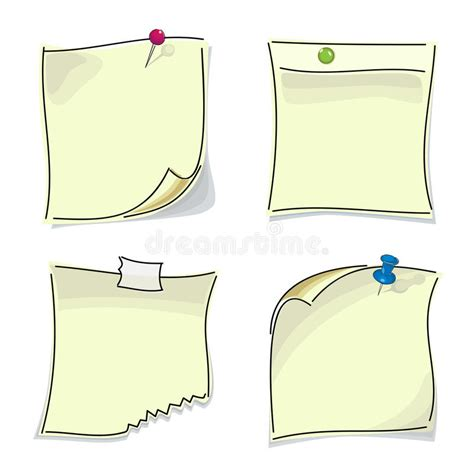 Small Paper Sticky Notes Pinned Buttons Stock Vector Multi Colored Copy Paper L