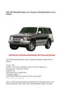 service and repair manuals 1995 mitsubishi pajero engine control 1992 1995 mitsubishi pajero a k a montero workshop repair service manual by buhbu issuu