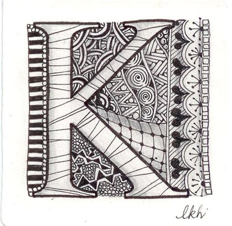 K Letter Doodle 109 best zentangle letters and numbers images on