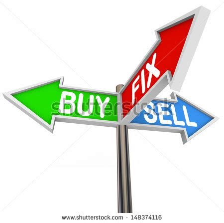 buying a house at age 50 the words buy fix and sell on three arrow signs to illustrate buying a house fixing