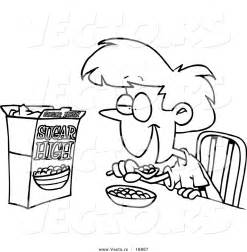 Vector of a cartoon girl eating sugary cereal coloring page outline