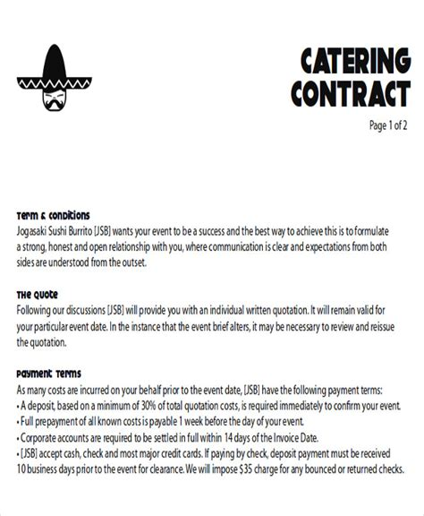 Contract Letter For Catering Catering Contract Letter