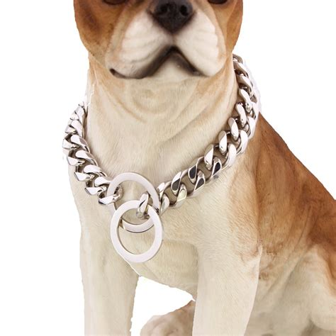 cuban link collar stainless steel cuban link chain choke collar 15 mm wide heavy 12 36 quot 18inch