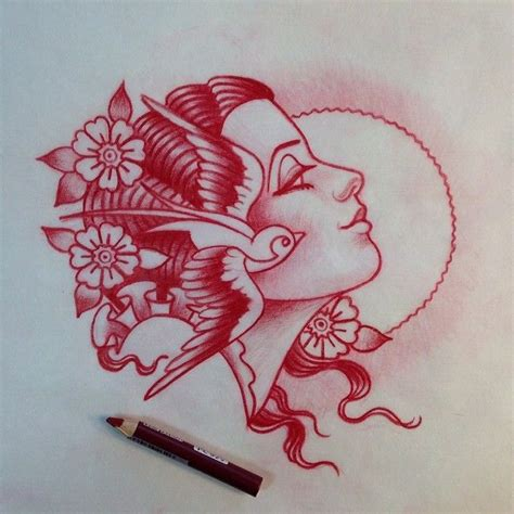 tattoo flash pen american traditional woman tattoo tattoo inspiration